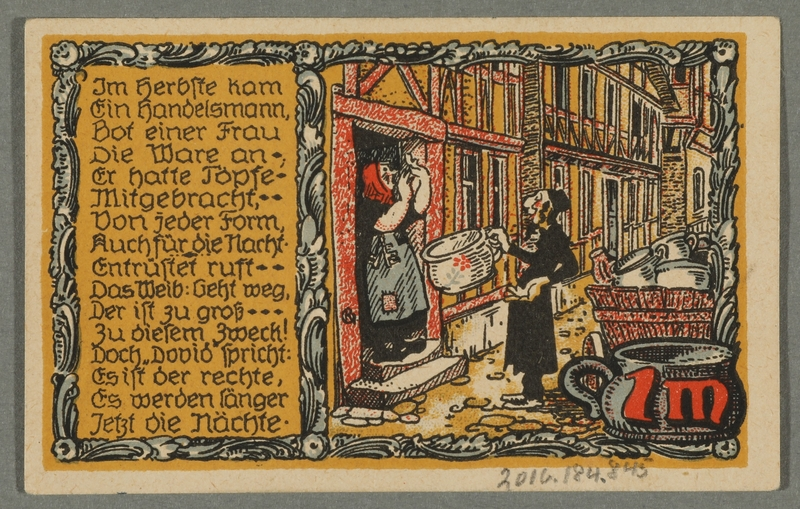 2016.184.845_back Beverungen, emergency currency, 1 mark notgeld, with an anti-Jewish cartoon