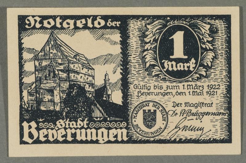 2016.184.846_front Beverungen, emergency currency, 1 mark notgeld, with an anti-Jewish cartoon