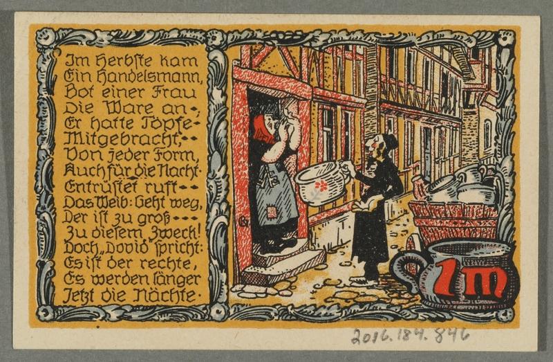 2016.184.846_back Beverungen, emergency currency, 1 mark notgeld, with an anti-Jewish cartoon