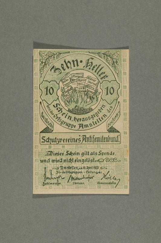 2016.184.847_front German-Austrian League of Anti-Semites, 10 heller donation receipt