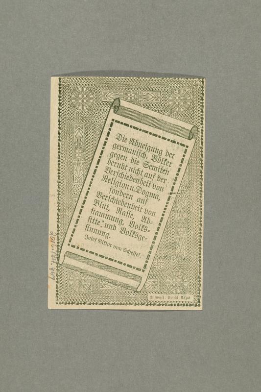 2016.184.847_back German-Austrian League of Anti-Semites, 10 heller donation receipt
