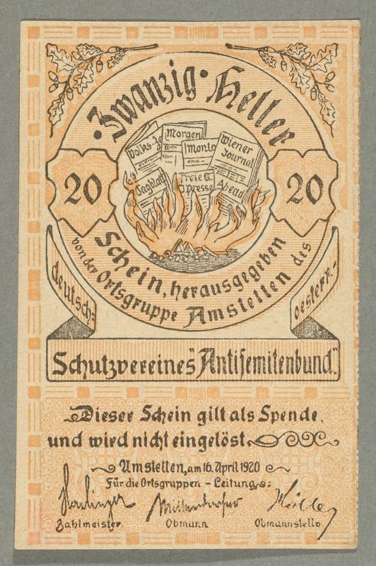2016.184.848_front German-Austrian League of Anti-Semites, 20 heller donation receipt