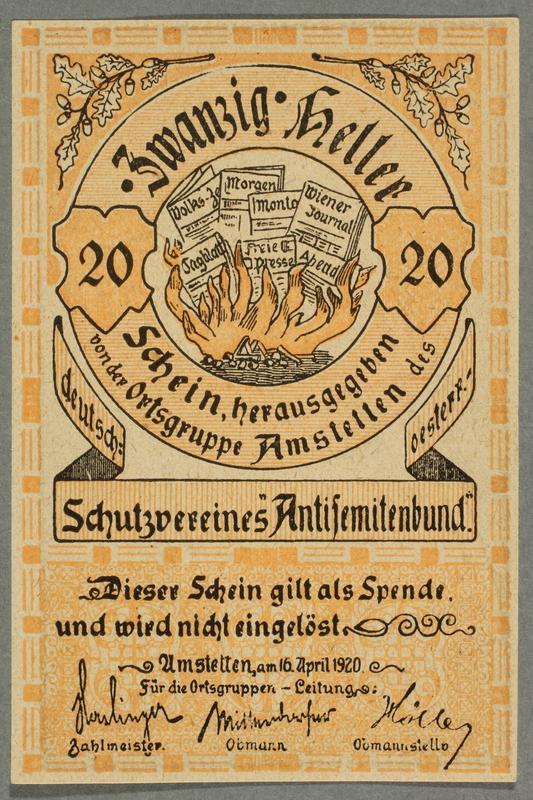 2016.184.850 front German-Austrian League of Anti-Semites, 20 heller donation receipt