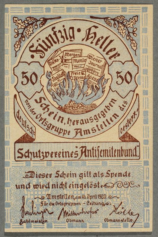 2016.184.851 front German-Austrian League of Anti-Semites, 50 heller donation receipt