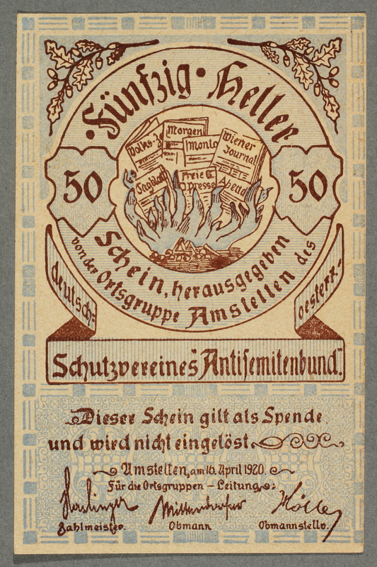 2016.184.852 front German-Austrian League of Anti-Semites, 50 heller donation receipt