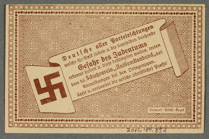 2016.184.852 back German-Austrian League of Anti-Semites, 50 heller donation receipt