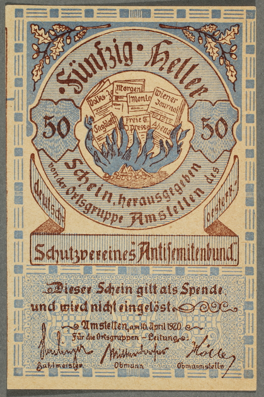 2016.184.853 front German-Austrian League of Anti-Semites, 50 heller donation receipt