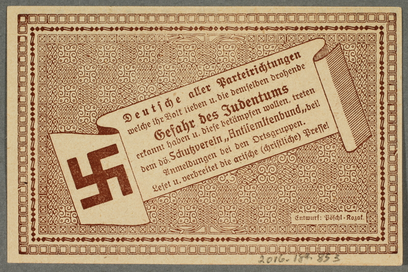 2016.184.853 back German-Austrian League of Anti-Semites, 50 heller donation receipt