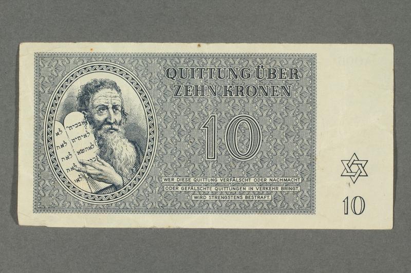 2016.184.820 front Theresienstadt ghetto-labor camp scrip, 10 kronen note
