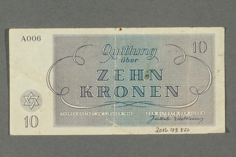 2016.184.820 back Theresienstadt ghetto-labor camp scrip, 10 kronen note