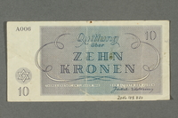 2016.184.820 back Theresienstadt ghetto-labor camp scrip, 10 kronen note  Click to enlarge