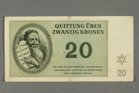 2016.184.821 front Theresienstadt ghetto-labor camp scrip, 20 kronen note  Click to enlarge