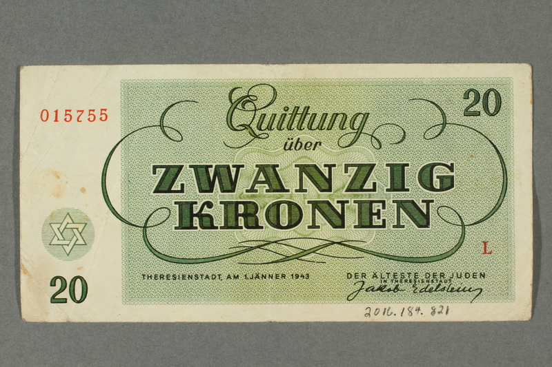 2016.184.821 back Theresienstadt ghetto-labor camp scrip, 20 kronen note
