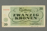 2016.184.821 back Theresienstadt ghetto-labor camp scrip, 20 kronen note  Click to enlarge