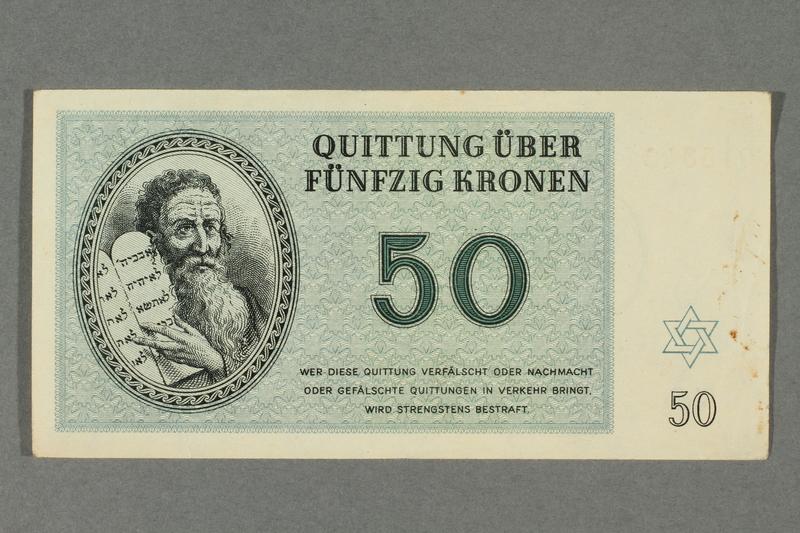 2016.184.822 front Theresienstadt ghetto-labor camp scrip, 50 kronen note