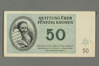 2016.184.822 front Theresienstadt ghetto-labor camp scrip, 50 kronen note  Click to enlarge