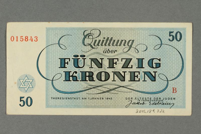 2016.184.822 back Theresienstadt ghetto-labor camp scrip, 50 kronen note