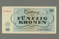 2016.184.822 back Theresienstadt ghetto-labor camp scrip, 50 kronen note  Click to enlarge