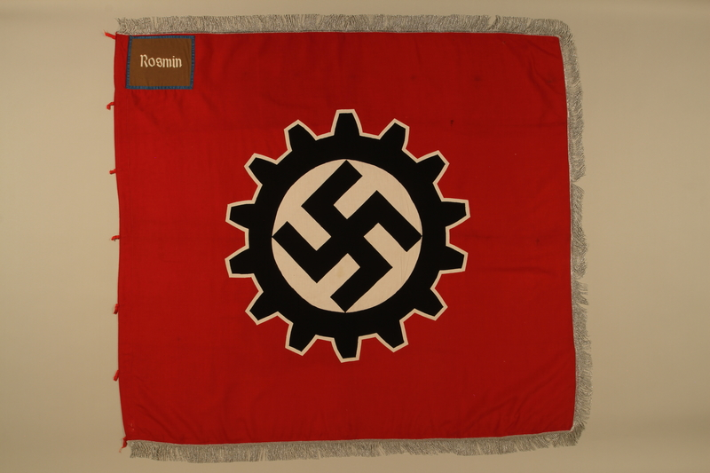 2016.208.2a side A Deutsche Arbeitsfront swastika and cogwheel banner acquired by a US POW