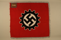 2016.208.2a side A Deutsche Arbeitsfront swastika and cogwheel banner acquired by a US POW  Click to enlarge