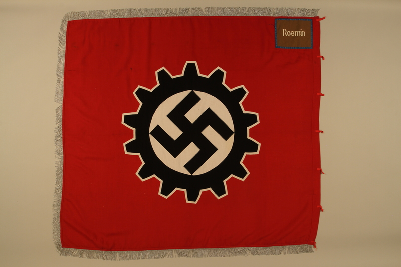 2016.208.2a side B Deutsche Arbeitsfront swastika and cogwheel banner acquired by a US POW