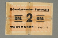 2016.308.4 front Buchenwald Standort-Kantine concentration camp scrip, 2 Reichsmark  Click to enlarge