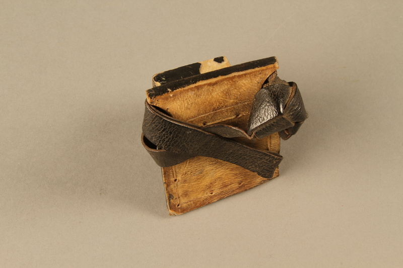 2006.516.4 a side b Pair of Tefillin and pouch owned by a Romanian Jewish concentration camp survivor