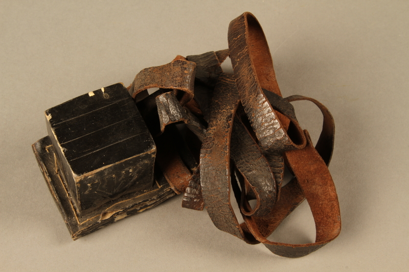 2006.516.4 b side b Pair of Tefillin and pouch owned by a Romanian Jewish concentration camp survivor