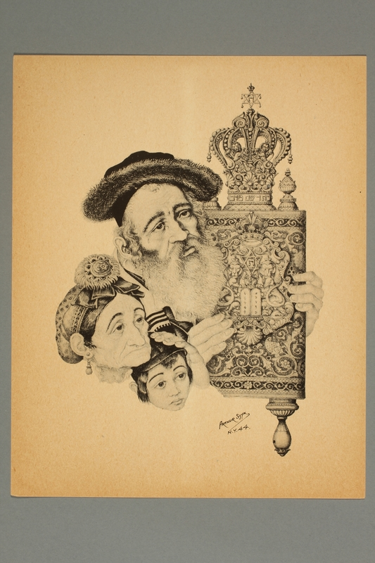 2016.242.4 front Arthur Szyk print of a Jewish family with a Torah scroll