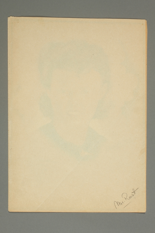 2016.248.2 cover sheet Portrait of a woman drawn by Ervin Abadi and given to a US liberator