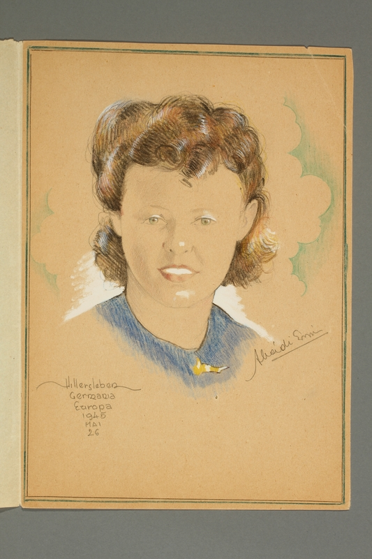 2016.248.2 open Portrait of a woman drawn by Ervin Abadi and given to a US liberator