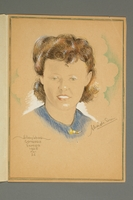2016.248.2 open Portrait of a woman drawn by Ervin Abadi and given to a US liberator  Click to enlarge