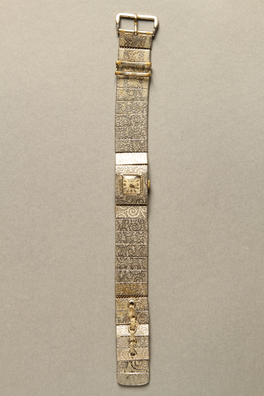 2016.281.2 front Linked band wrist watch worn by Albanian rescuers
