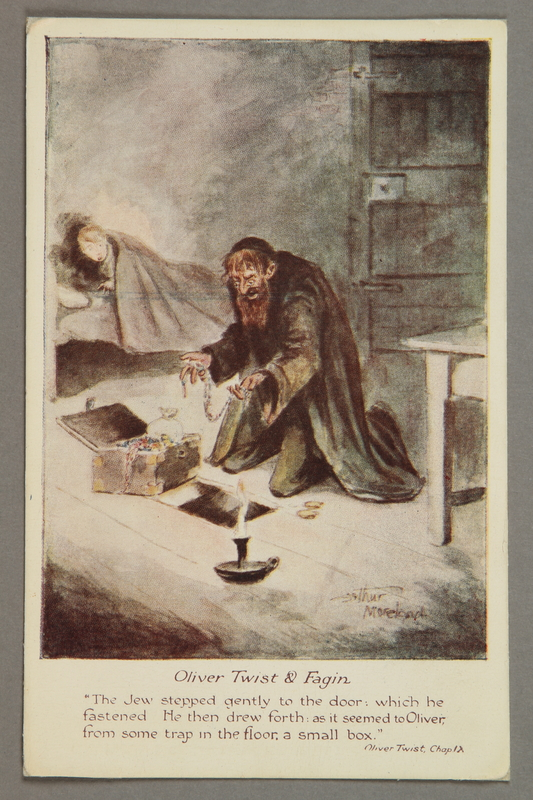 2016.184.854 front Postcard of Fagin checking his treasure as Oliver watches