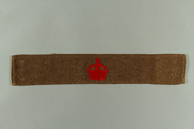2016.322.2 front British military armband acquired by a Jewish emigre serving in the US Army