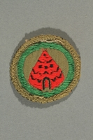 2016.322.4 front Green patch with a red tent acquired by a Jewish emigre in US Army  Click to enlarge