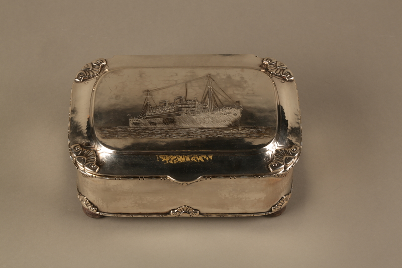 2016.428.1 top Silver box commemorating the launch of the MS St Louis