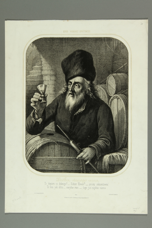 2016.184.855 front Print of a Jewish wine merchant inspecting wine