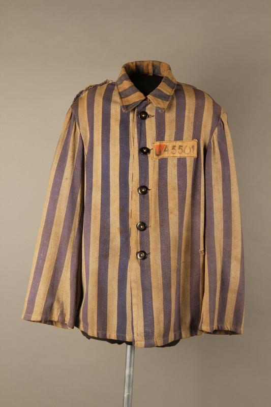 2015.586.2 front Concentration camp uniform jacket for a Hungarian political prisoner