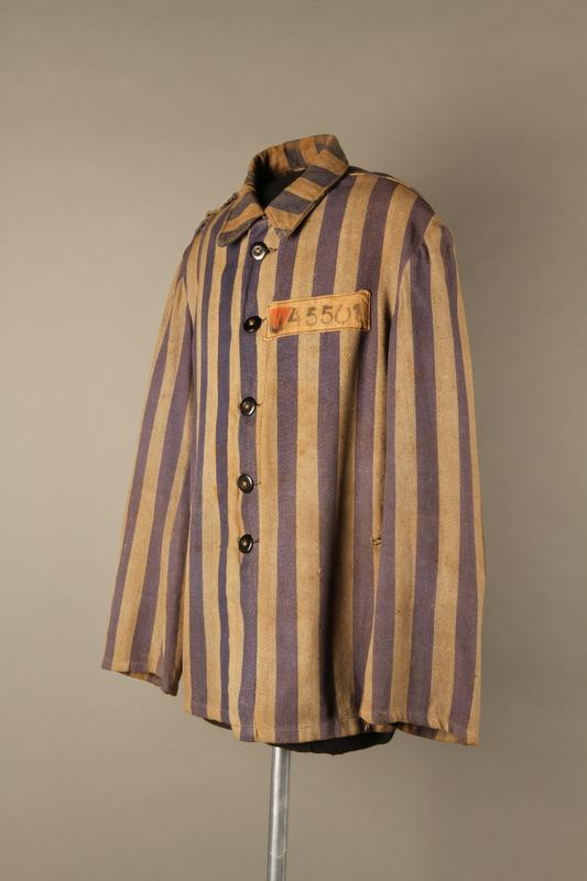 2015.586.2 3/4 left Concentration camp uniform jacket for a Hungarian political prisoner