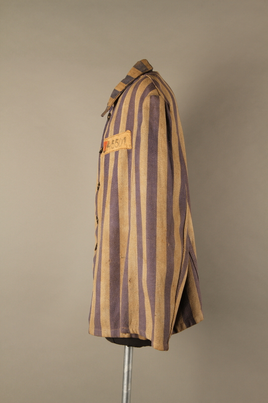 2015.586.2 right Concentration camp uniform jacket for a Hungarian political prisoner