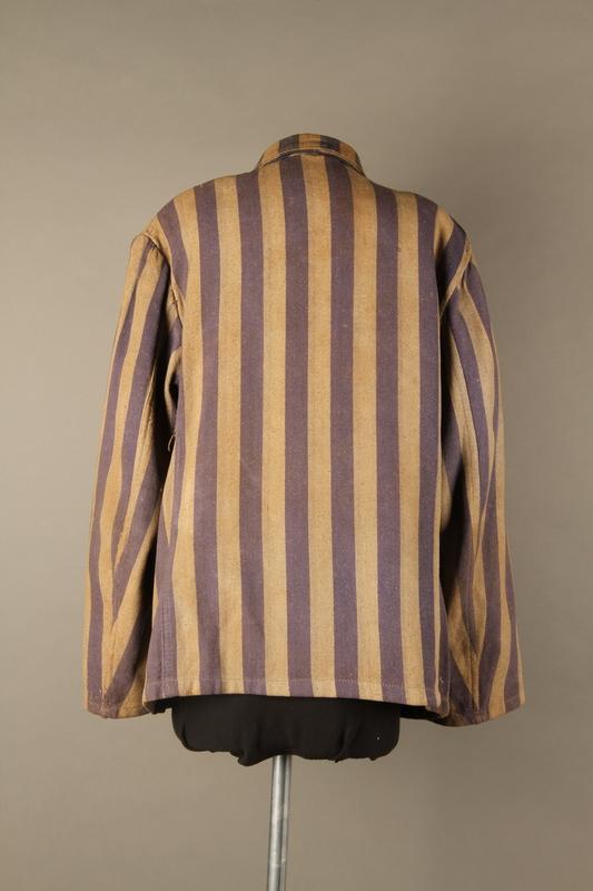2015.586.2 back Concentration camp uniform jacket for a Hungarian political prisoner