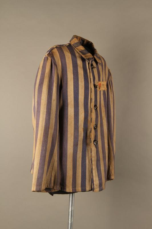 2015.586.2 3/4 right Concentration camp uniform jacket for a Hungarian political prisoner