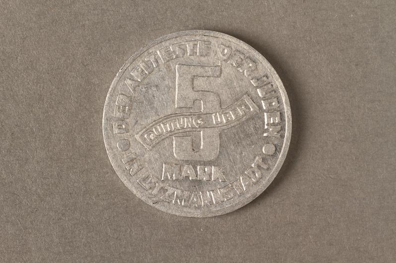 2015.586.4 back Łódź (Litzmannstadt) ghetto scrip, 5 mark coin