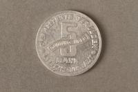 2015.586.4 back Łódź (Litzmannstadt) ghetto scrip, 5 mark coin  Click to enlarge