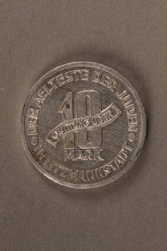 2015.586.5 back Łódź (Litzmannstadt) ghetto scrip, 10 mark coin