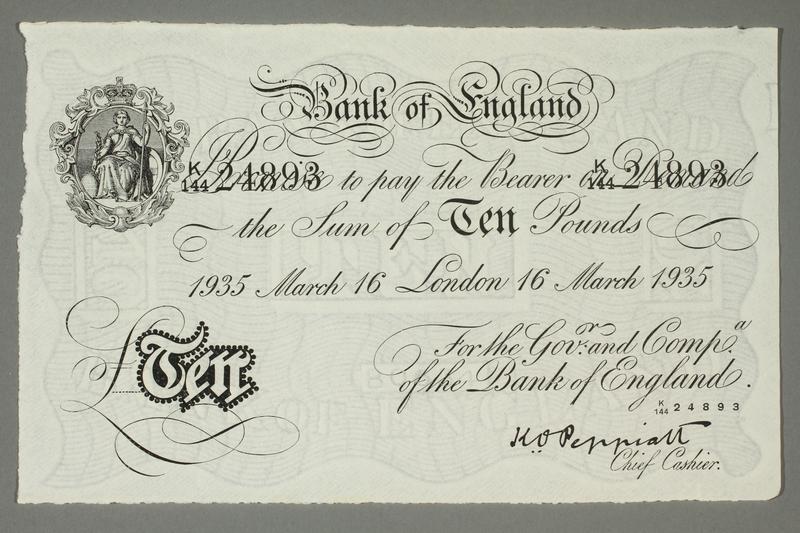 2015.586.8 front Operation Bernhard counterfeit British 10 pound note