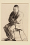 Black crayon and pencil drawing of a man seated on a chair with his arms folded across his chest