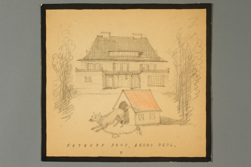 2016.348.2 front Sketch of a dog house and dog