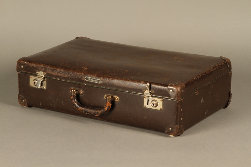 2016.352.2 3/4 view Suitcase used by German Jewish refugees